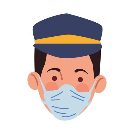 taxi driver using medical mask character vector illustration design