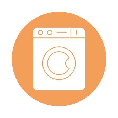 washer machine silhouette block style icon vector illustration design