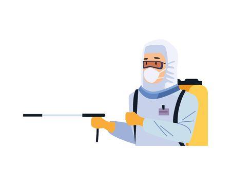 biosafety worker with sprayer portable vector illustration design