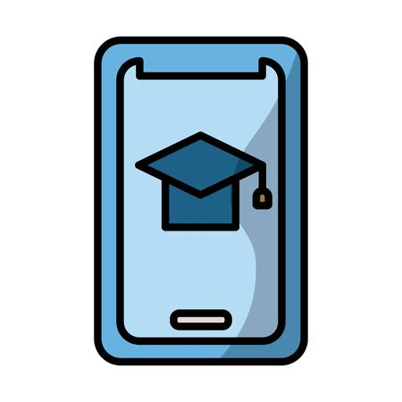 smartphone with graduation hat elearning fill style vector illustration design