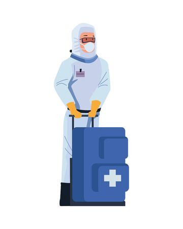 biosafety worker with medical equipent vector illustration design
