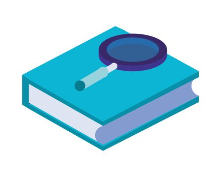 text book library with magnifying glass vector illustration design