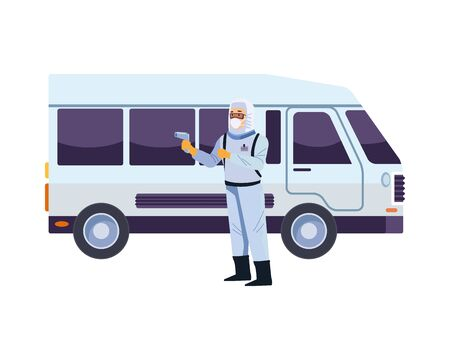 biosafety worker with thermometer laser and bus vector illustration design