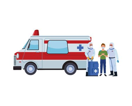 biosafety workers with medical equipent and ambulance vector illustration design