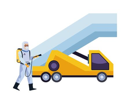 biosafety worker with sprayer portable and car stairs vector illustration design