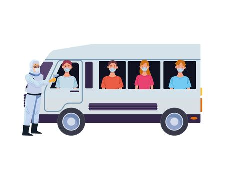 biosafety worker with thermometers laser in van and people vector illustration design