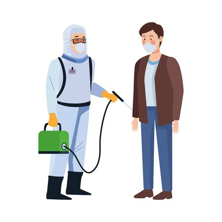 biosafety worker with sprayer portable and man vector illustration design