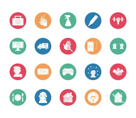bundle of quarantine set icons vector illustration design
