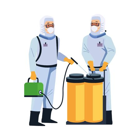 biosafety workers with sprayer portable and tanks vector illustration design