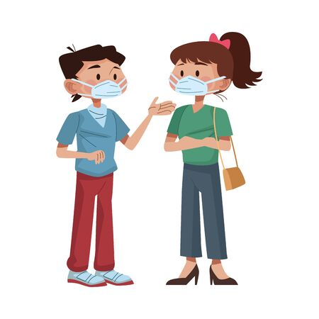 young couple using medical masks characters vector illustration design