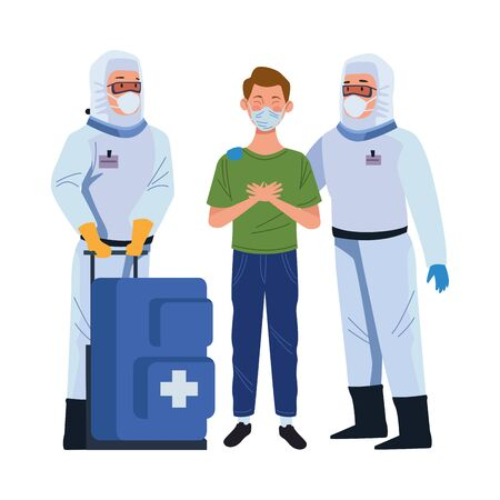 biosafety worker with medical equipent and patient vector illustration design Illustration