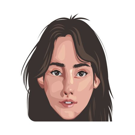 beautiful young woman avatar character vector illustration design