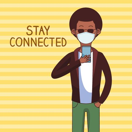 afro man wearing medical mask and smartphone for stay connected vector illustration design