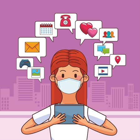 woman wearing medical mask and tablet for stay connected vector illustration design