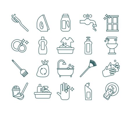 cleaning and desinfect set icons vector illustration design