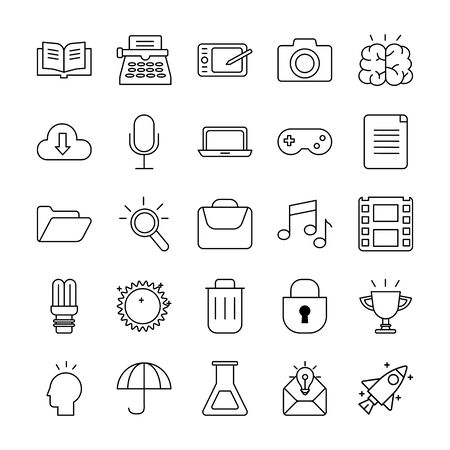 bundle of designer set icons vector illustration design