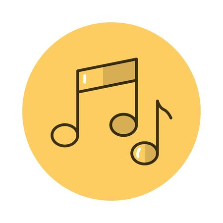 music notes block style icon vector illustration design 일러스트