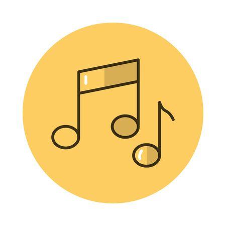 music notes block style icon vector illustration design Illustration