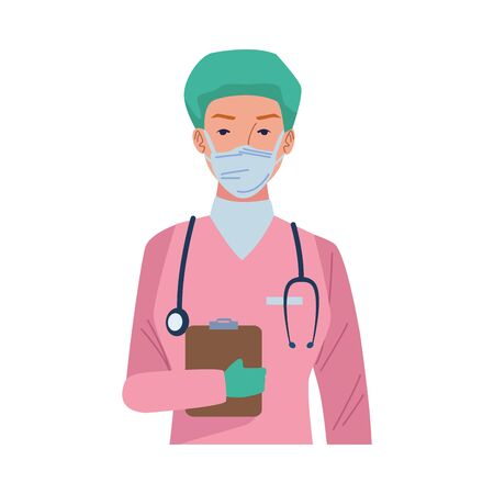female surgeon doctor wearing medical mask with checklist vector illustration design Vettoriali