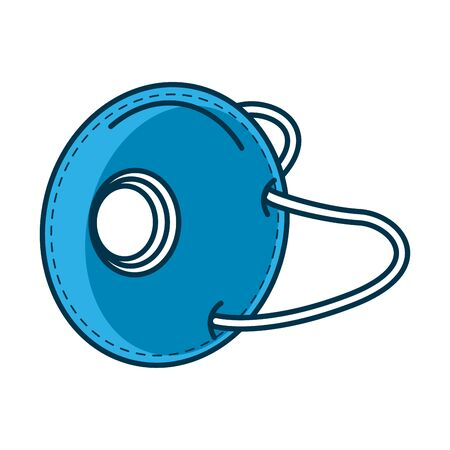 blue medical mask protection accessory with filter for covid19 prevention method vector illustration design