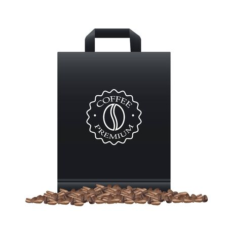 coffee shop elegant black shopping bag and grains vector illustration design
