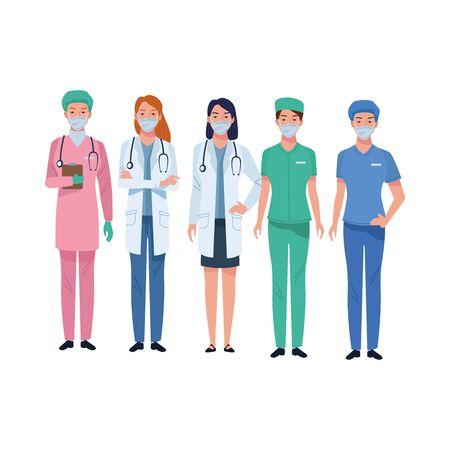 doctors staff wearing medical masks characters vector illustration design