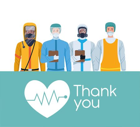 medical staff workers thank you message vector illustration design