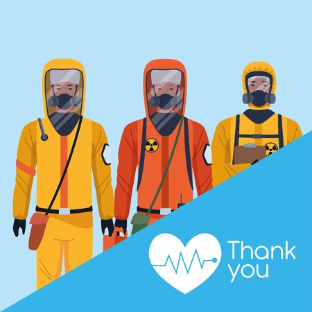 thank you doctors with biosafety suit vector illustration design