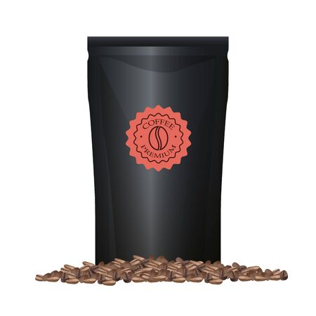 coffee black paper bag elegant packing product with grains vector illustration design