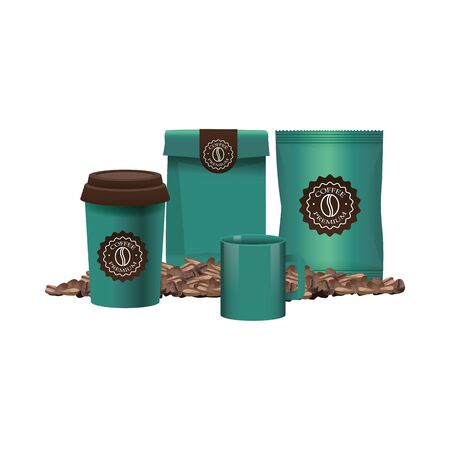 elegants green coffee packings products vector illustration design
