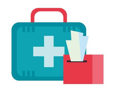 medical kit equipment and damp clothes vector illustration design