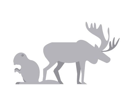 reindeer and beaver animals silhouettes vector illustration design