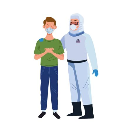 biosafety worker with patient characters vector illustration design