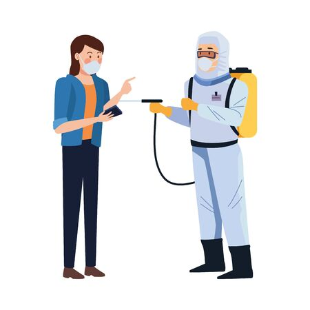 biosafety worker with sprayer portable and woman vector illustration design