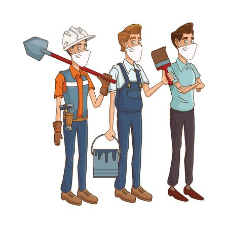 builders with man using medical masks and tools vector illustration design