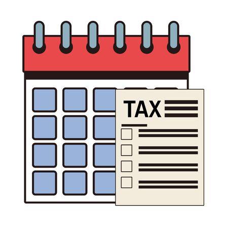 tax financial document paper with calendar vector illustration design Иллюстрация