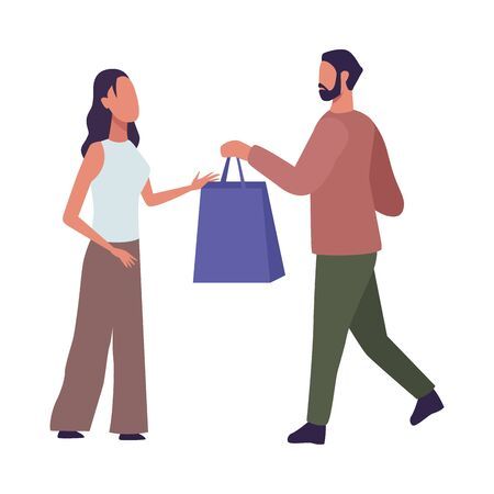 young couple fashion wear with shopping bag characters vector illustration design Vettoriali