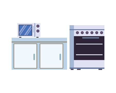 microwaves ovens in drawer kitchen appliance isolated icon vector illustration design Vettoriali