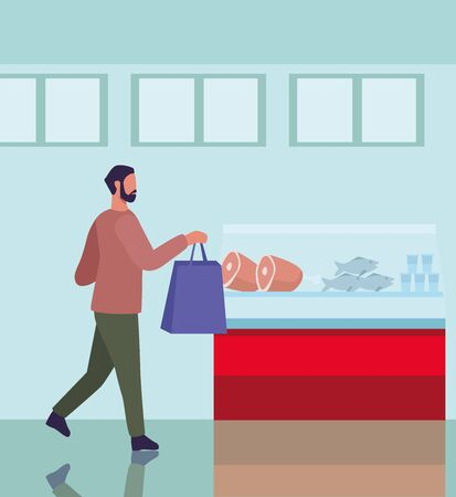 young man shopping groceries activity character vector illustration design