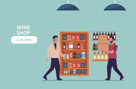 young men shopping groceries activity characters vector illustration design