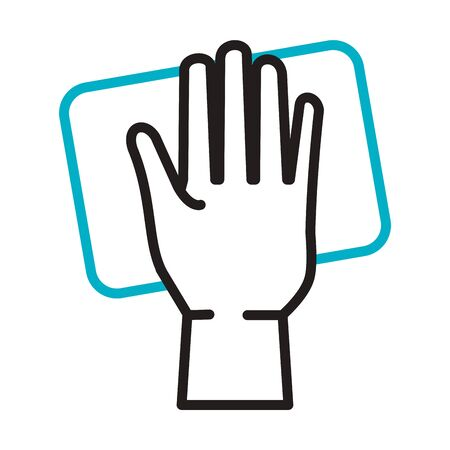hand cleaning surface line style icon vector illustration design