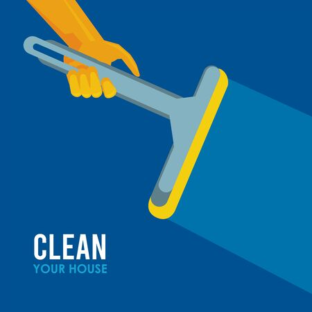 hand with rubber glove with clean glass brush housekeeping vector illustration design