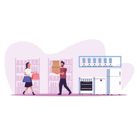 young couple shopping appliances activity characters vector illustration design