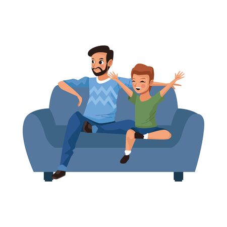 father with son in sofa avatars characters vector illustration design