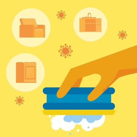hand with rubber glove and sponge housekeeping accessory vector illustration design