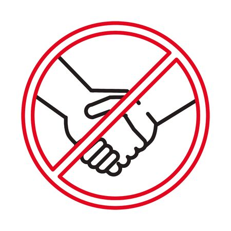 denied handshake signal line style icon vector illustration design