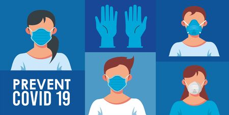 use surgical mask prevent covid19 poster vector illustration design
