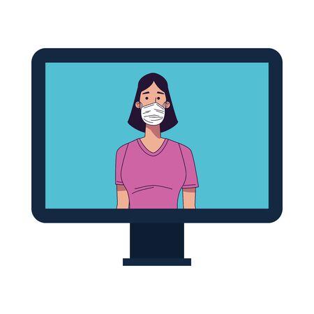 young woman wearing medical mask in desktop vector illustration design Vectores
