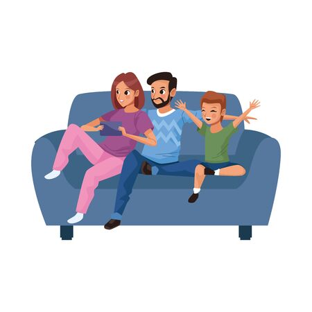 young parents with little son in sofa characters vector illustration design