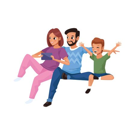 young parents with little son characters vector illustration design
